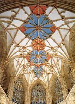 The choir vault, 14th century stellar vault painted and guilded and later decorated with Yorkist badges of the sun in splendour